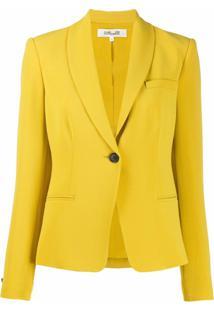 Dvf Diane Von Furstenberg Blazer Halzie De Crepe - Amarelo