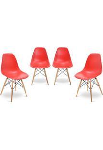 Kit 04 Cadeiras Eiffel Charles Eames Vermelho F01 Com Base De Madeira