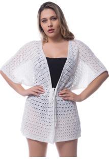 Saída De Praia Tricô Rendado Kimono Crochê Branco 0265
