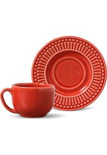 Conjunto 12Pçs Xícaras De Chá 160Ml Porto Brasil Roma Vermelho