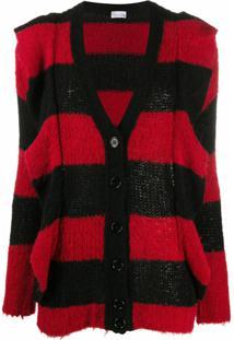 Red Valentino Cardigan Longo Com Listras - Vermelho