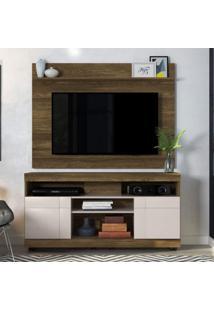 Rack Com Painel Home Para Tv Até 55 Polegadas 2 Portas Yara Maia Colibri Móveis Canela Rústico Fosco / Off White Brilho