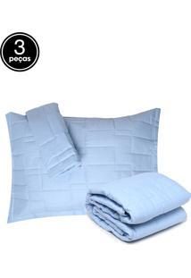 Kit 3Pçs Colcha Casal Altemburg Essence 200 Fios Azul