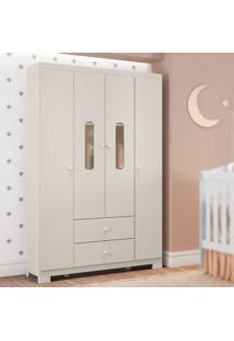 Guarda Roupa Infantil Sonhos 4 Portas Off White Móveis Estrela