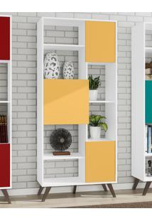 Estante Retrô 3 Portas Movelbento - Branco E Amarelo - Multistock