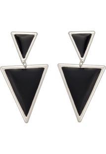 Brinco Prata Mil Prata Com Triângulos Reticulados Borda Lisa E Resina Prata