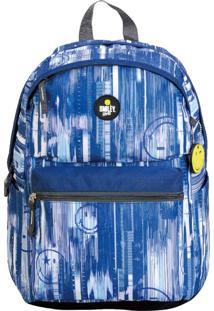 Mochila Casual Com Porta Notebook Escolar Universitaria Smiley Gosuper Blue Sky Azul