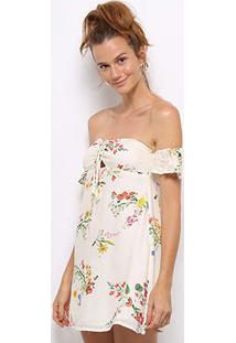578c0a1d3 R$ 144,99. Zattini Vestido Farm Evasê Off White Estampado ...