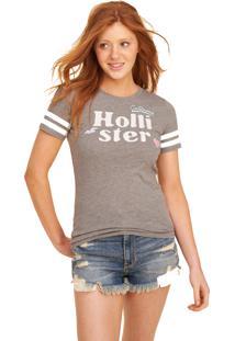Camiseta Manga Curta Hollister Gráfica Cinza