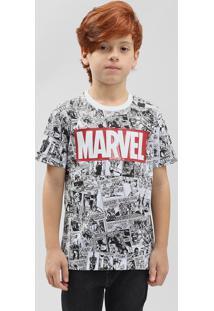 Camiseta Infantil Estampada De Quadrinhos Marvel Manga Curta Gola Careca Branca