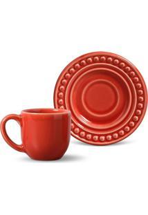 Xícara De Café Com Pires Atenas Vermelho