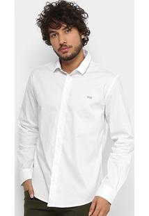 Camisa Triton Manga Longa Comfort Elastano Masculina - Masculino-Branco