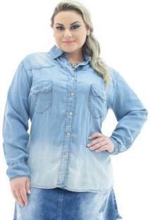Camisa Jeans Confidencial Extra Plus Size Com Bolso Feminina - Feminino-Azul Claro