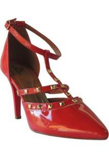 Scarpin Nk Calcados Confortável Feminino - Feminino-Vermelho