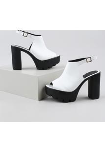 Sandal Boot Feminina Oneself Salto Alto Grosso Tratorada Branca