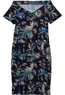 Vestido Azul Marinho Tubinho Floral