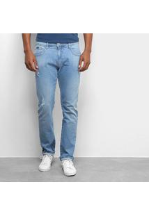 Calça Jeans Slim Forum Paul Puídos Masculina - Masculino-Azul