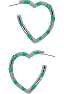 Brinco Infine Argola De Coração Esmaltada Em Verde Com Zircônia Banhada A Ródio