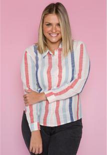 Camisa Linho Sislla Feminina - Feminino-Branco+Rosa