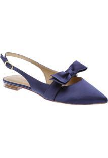 Sapatilha Bico Fino Cetim Laços Azul | Anacapri