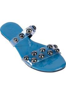 Rasteirinha Mercedita Shoes Bolas Cristal Macia Conforto Verão Feminina - Feminino-Azul Claro
