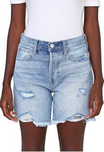 Bermuda Jeans Gap Reta Destroyed Azul