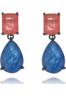 Brinco Lua Mia Joias Pendente Fusion Premium Coral E Azul Banho Ródio Negro