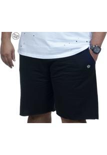 Bermuda Plus Size Moletinho Bigshirts - Preta