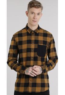 Camisa Masculina Xadrez Em Flanela Com Bolso Manga Longa Caramelo