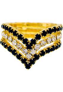 Anel Horus Import Preto E Cristal Triplo Banhado Ouro Amarelo 18 K - 1010101 - Amarelo/Dourado - Feminino - Dafiti