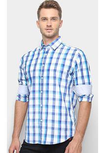 Camisa Xadrez Manga Longa Broken Rules Masculina - Masculino-Azul