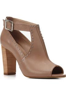 Sandália Boot Couro Shoestock Salto Bloco Alto Metais Feminina - Feminino-Nude