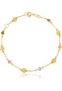 Pulseira De Ouro 18K Flores Com Diamantes E Gemas Brasileiras-Coleção Jardim Secreto