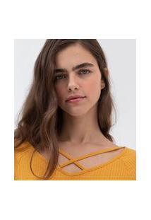 Blusa Com Detalhe Cruzado Na Frente | Blue Steel | Amarelo | M