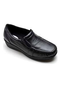 Sapato Feminino Anatômico Anabela Em Couro - Preto 901