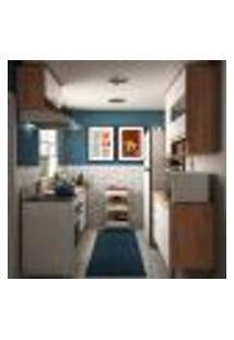 Cozinha Compacta Napoli Prime 10 Pt 4 Gv Castanho E Branca