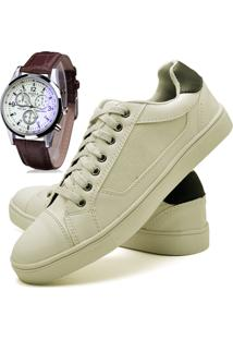 Sapatênis Sapato Casual Com Relógio Juilli Com Cadarço Masculino 04L Branco