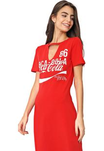 Vestido Coca-Cola Jeans Curto Estampado Vermelho