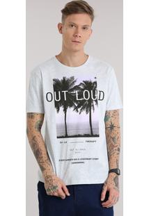 "Camiseta ""Out Loud"" Cinza Mescla Claro"