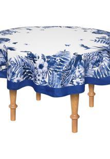Toalha De Mesa Karsten Redonda Sempre Limpa Nature Blue 1,78M Branca/Azul