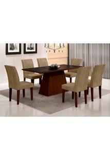 Conjunto De Mesa De Jantar Luna Com Vidro E 6 Cadeiras Grécia Castor Preto Com Animalle Chocolate