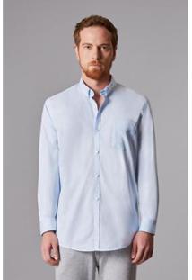 Camisa Ml Oxford Pima Leve Reserva Masculina - Masculino-Azul Claro