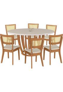 Conjunto Mesa Mona Redonda 150Cm Com 6 Cadeiras Jade Champagne/Off White Linho Bege - Gran Belo - Tricae