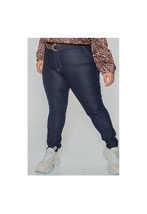 Calça Skinny Jeans Com Cinto Plus Size Jeans Blue Calça Skinny Jeans Com Cinto Plus Size Jeans Blue 46 Kaue Plus Size