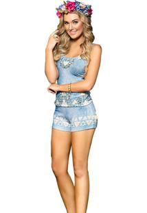 Pijama Curto Inspirate Estampa Jeans Feminino - Feminino-Azul+Branco