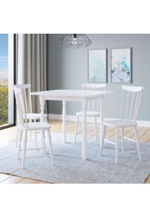 Conjunto De Mesa Andreia Com 4 Cadeiras Udine Branco