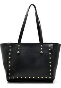 Bolsa Shopper D&R Shoes Tachas Feminina - Feminino-Preto