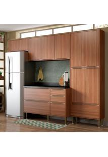Cozinha Compacta Com Tampo 11 Portas 5458 Nogueira - Multimóveis