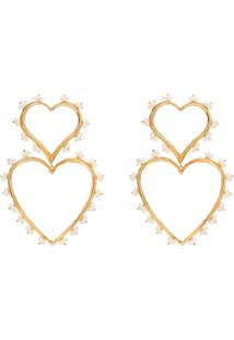 Joanna Laura Constantine Gold-Plated Pearl-Embellished Heart Earrings - Dourado
