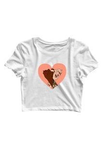 Blusa Blusinha Feminina Cropped Tshirt Camiseta União Coração Branco